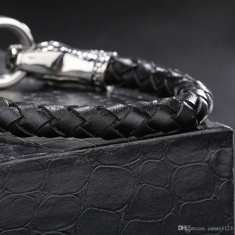 2016Hot Sale Black Genuine Leather Bracelets Wrap Charm Male Cuff Bangle Ethnic Tribal Bracelet&Bangle Handmade friendship Jewelry Accessory