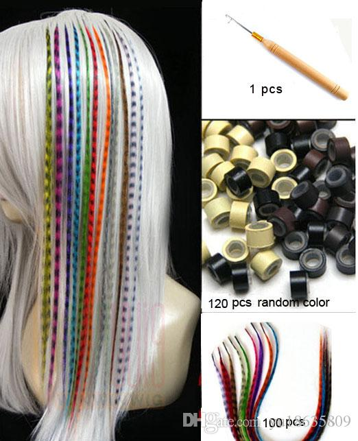 Long Straight Feather Hair Extension Mixed Color Lady Diy Grizzly