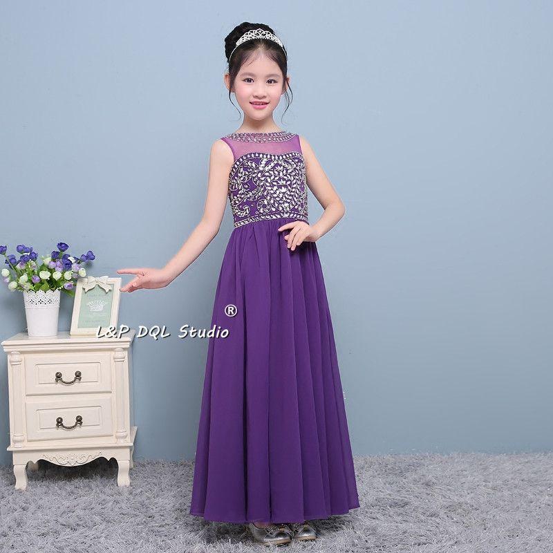 2017 새로운 도착 보라색 꽃 소녀 드레스 반짝 이는 비즈 스팽글 맥시 걸스 파티 드레스와 시폰 드레스 레이스 업 / 지퍼 뒤로 저렴한