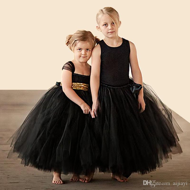 Hot Sale 2016 Fashion Gold Sequin Black Flower Girl Dresses Baby Girl Tutu Dress Bow Ball Gown Vestido De Daminha Communion Dresses