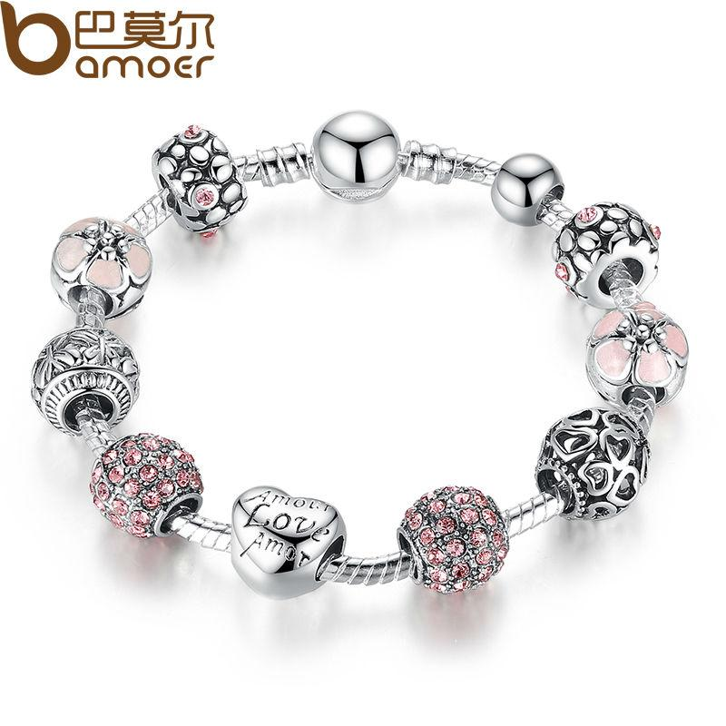 Wholesale BAMOER Antique 925 Silver Charm Fit Pan Bangle   Bracelet With  Love And Flower Crystal Ball For Women Wedding PA1455 Charms For A Charm  Bracelet ... 127d1e92c1c4