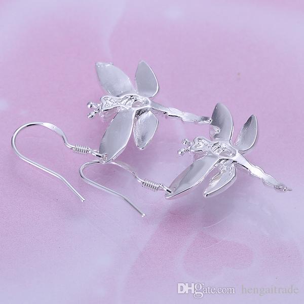 10 pares / lote frete grátis atacado 925 esterlina banhado a prata moda mulheres brincos jóias para presentes e009