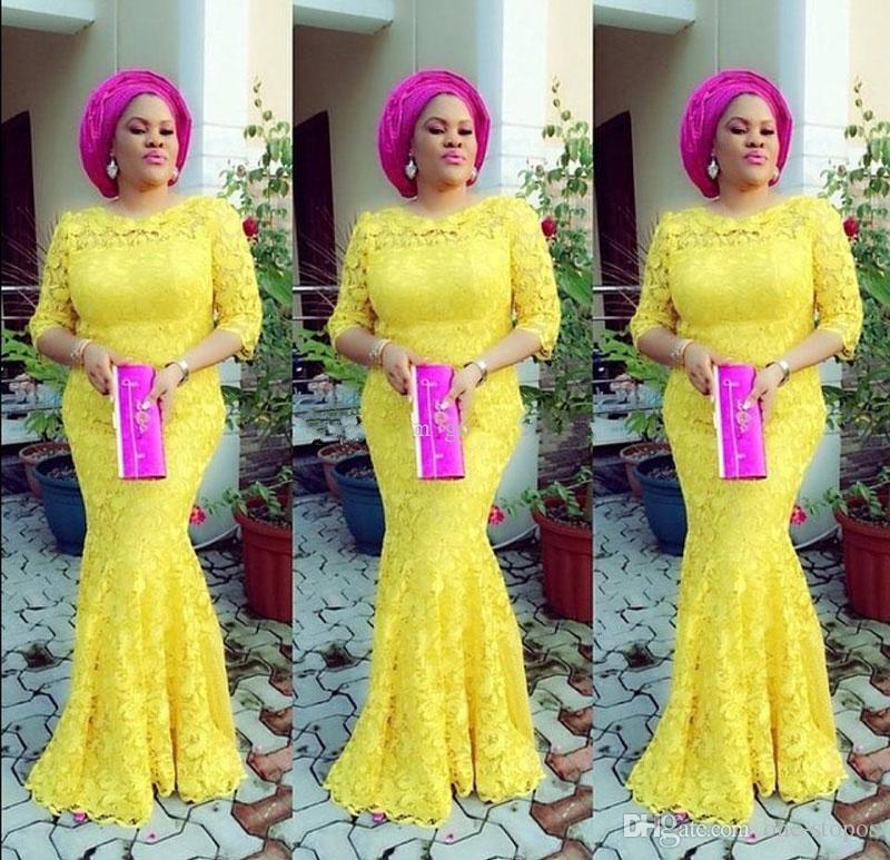 Afric Yellow Lace Mermaid Formal Evening Gowns 4 Styles 3/4 Long Sleeves Jewel Neckline Floor Length Prom Dress vestidos de novia