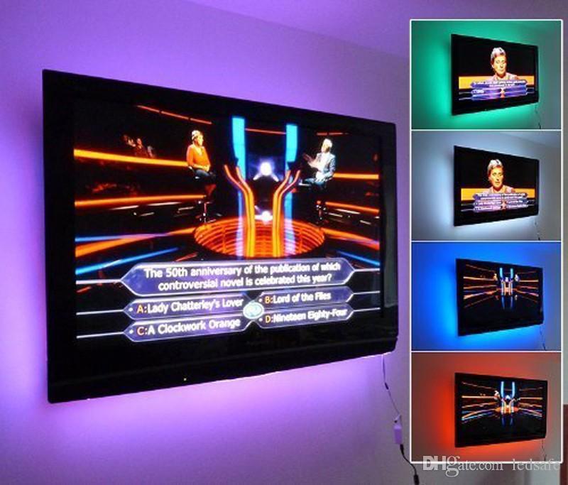 DC 5V USB LED Lampada flessibile a striscia luminosa 100cm 1m SMD 2835 60leds / m Nastro a nastro TV LCD Sfondo Illuminazione Decorazione Corda Bianco CE ROSH