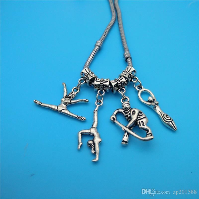 Mixed Tibetano Prata Atleta Ginástica jogador de beisebol Encantos pingentes fazer acessórios colar pulseira moda popular