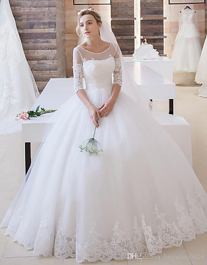 Scoop Half Sleeves Ball Gown Tulle Wedding Dress Bridal Dresses ...