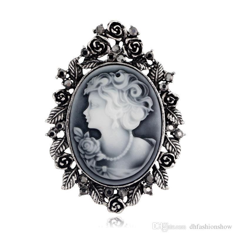 2019 Fashion Vintage Cameo Brooch Pin Beauty Queen Crystal Rhinestone  Christmas Brooch Antique Gold Silver Jewelry For Women Party Costume From  ... 6adba2a5b30c