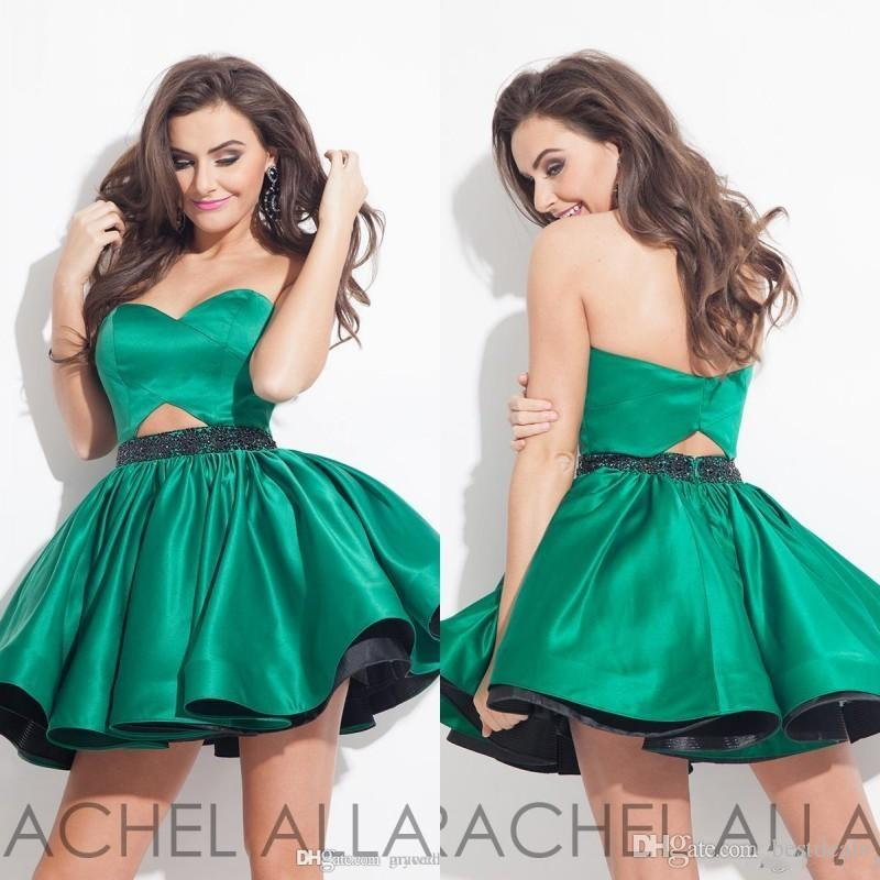 New Arrival 2016 Green Sweetheart Short Homecoming Dresses Beaded Satin Short Mini Ball Gown Prom Dresses Cocktail Party Dresses
