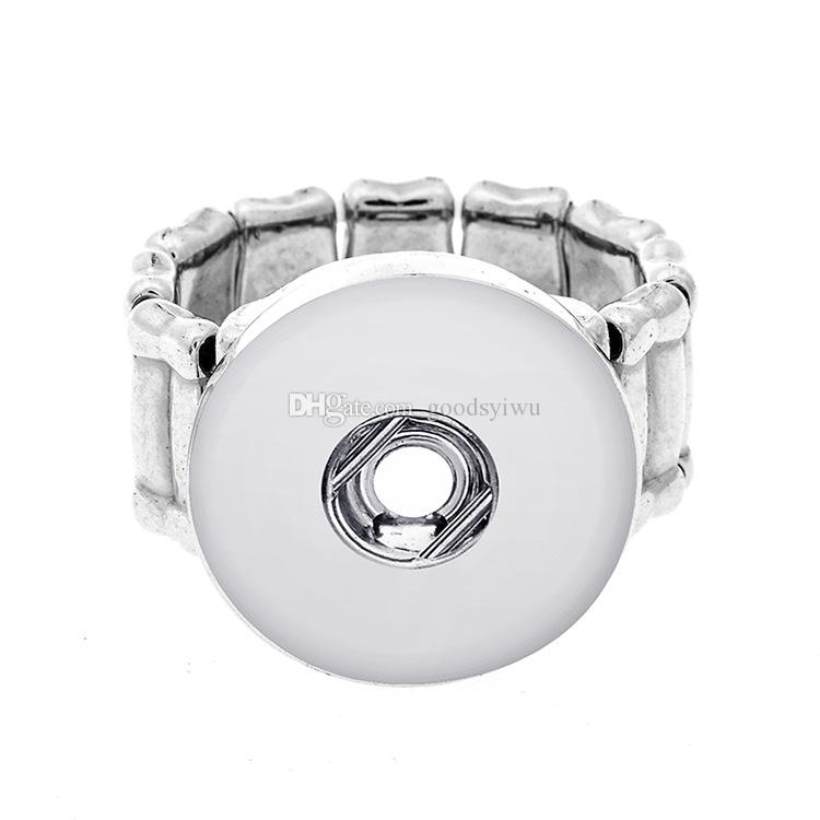 Crystal Noosa elastic Alloy Base snaps button rings DIY 18mm ginger snaps button jewelry Nice Cheap Gift
