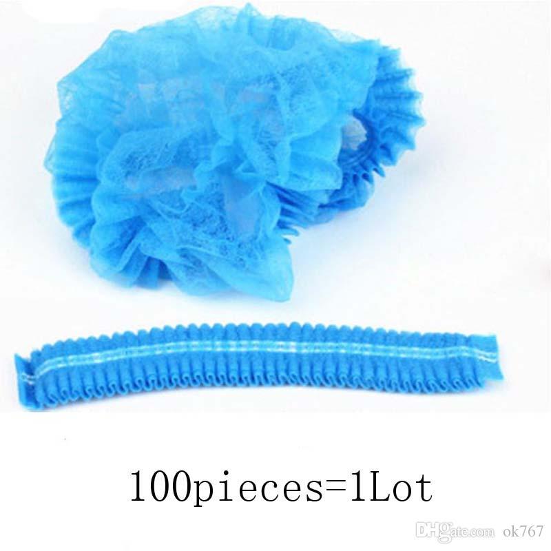Women Men Disposable Shower Caps Non Woven Pleated Anti Dust Hat Bath Caps for Spa Hair Salon