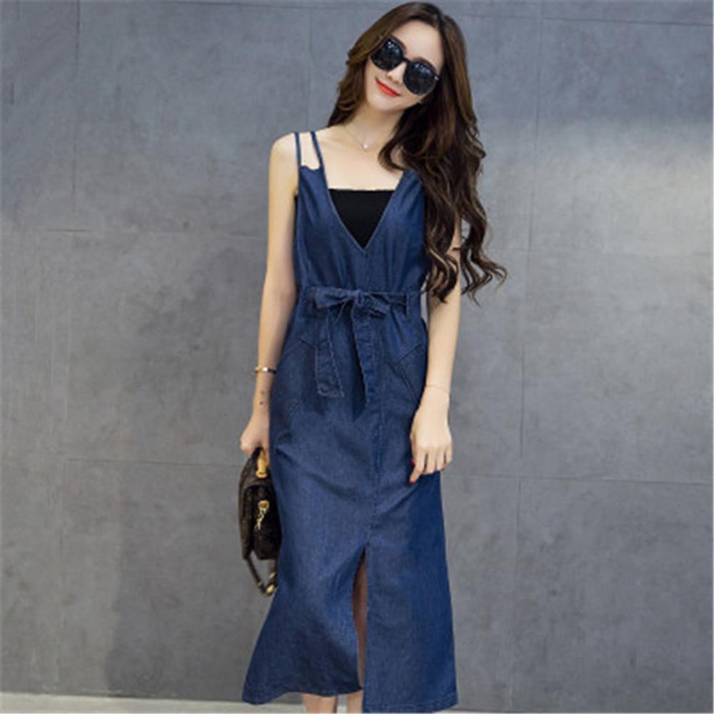 Summer denim plus size dresses