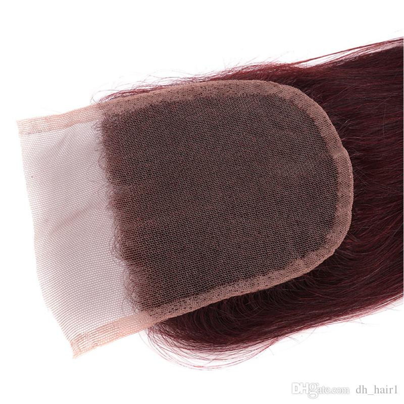 8A Brazilian Burgundy Virgin Hair Weaves With Lace Closure 99J Wine Red Brazilian Human Hair With Top Closure