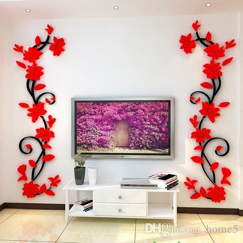 Wall Stickers 3D Romantic Rose Flower Wall Sticker Removable Decal Room  Vinyl For Home Bedroom Decoration Wall Sticker Wall Decor Wall Art Online  With ...