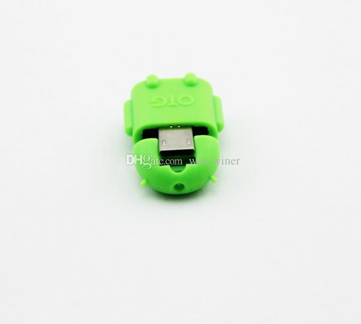 New Multi color Option Robot Shape Android Micro USB To USB 2.0 Converter OTG Adapter For Samsung Galaxy S3 S4 S5