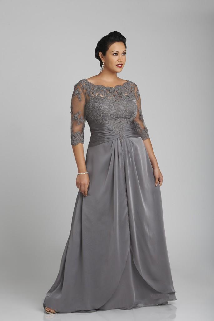 De plus Taille Gris Argent mère de la mariée Robes avec 3/4 manches longues Robes de mère Applique dentelle robes de soirée formelle