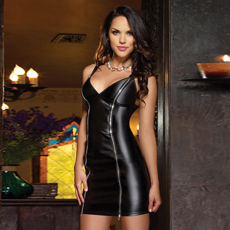 Sexy Women Latex Faux Leather Lingerie Dress Nightwear Underwear Pole Dance Wear Clothing Erotic Clubwear Nightgowns Dresses