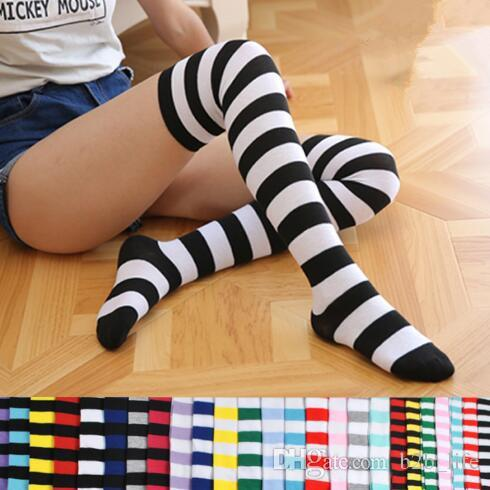 c1dee8a3b18 Striped Knee High Socks For Big Girls Adult Japanese Style Zebra Thigh High  Socks Spring Stockings  Pair CCA7139 Cool Designed Crew Socks Socks Uk From  ...