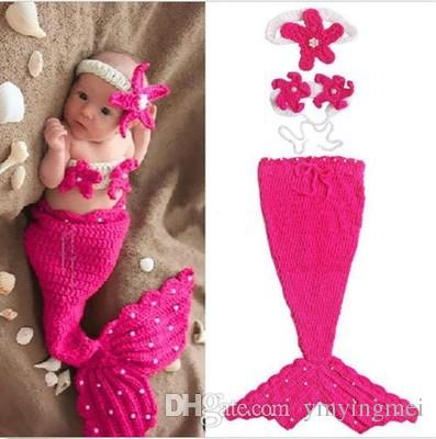 1d4cef1f5553 Feitong Cute Baby Knitted Crochet Outfits Baby Girl Boy Cap Hat Mermaid  Infant Turtle Tortoise Newborn Costume Photography Prop