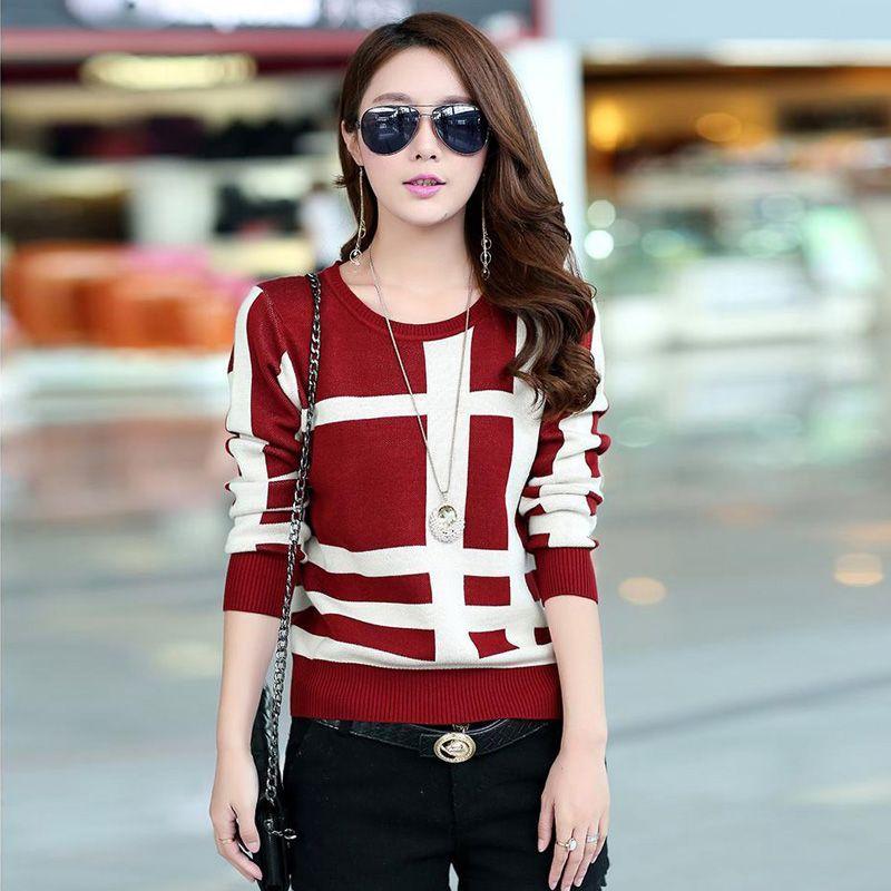 Autumn ladies sweater sleeve short slim female Plaid Wool bottoming sweaters winter sweater
