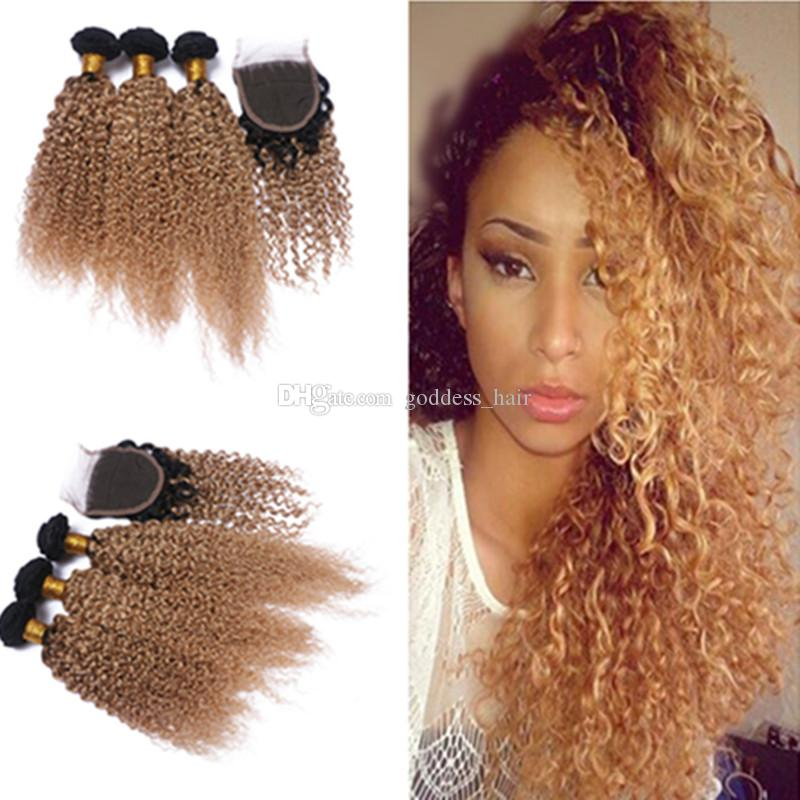 Hot Selling Honey Blonde Ombre Kinky Curly Hair Bundles With Lace Closure #1b 27 Hair Bundles With Kinky Curly Top Closure For Woman