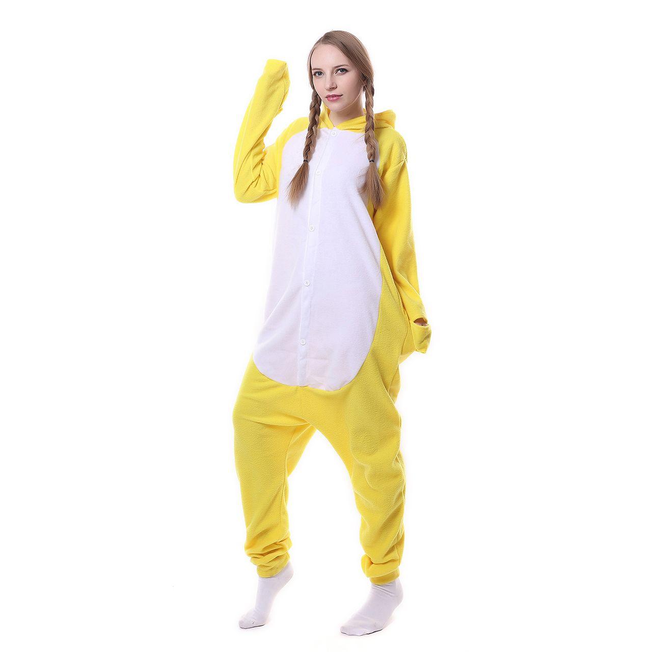 2017 New Cute Animal Pajamas Women Yellow Duck Cartoon Hooded Pajamas Set Fleece Full Sleeves Pyjama Home Sleep Wear