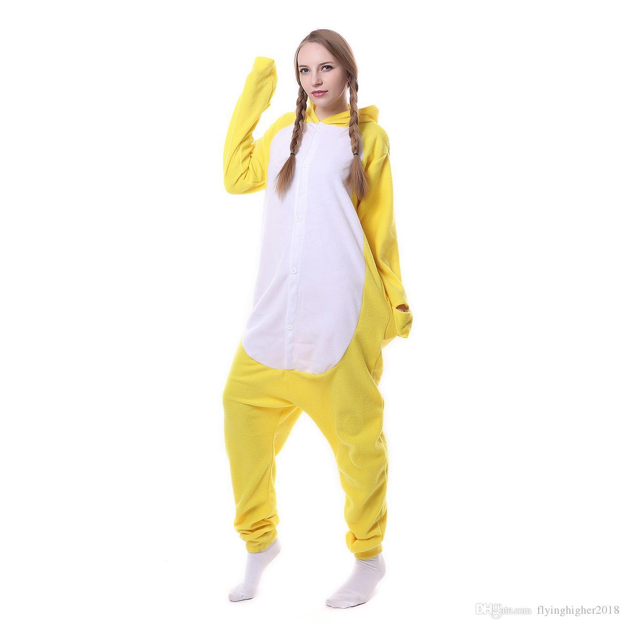 2017 Nouveau Mignon Animal Pyjama Femmes Jaune De Bande Dessinée De Canard À Capuche Ensemble De Pyjama À Capuche Polaire Pleines Manches Pyjama Maison Sommeil Sommeil