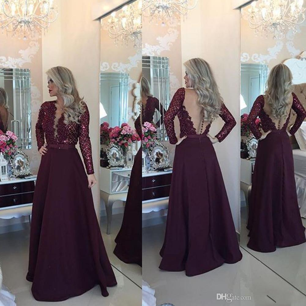 New Arrival Lace Top Burgundy Bow Pearls Party Dresses Sheer Back Vintage Prom Gowns Fast Shipping Cheap Long Sleeve Evening Dresses