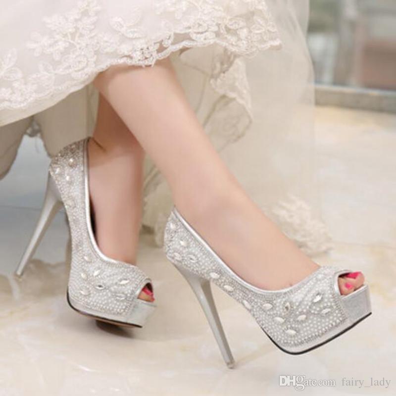 10 CM High Heel 2017 Funkelnden Silber Strass Hochzeit Schuhe Sandalen Für Frauen Peep Toe 3 CM Plattform Party Braut Zubehör Kleider