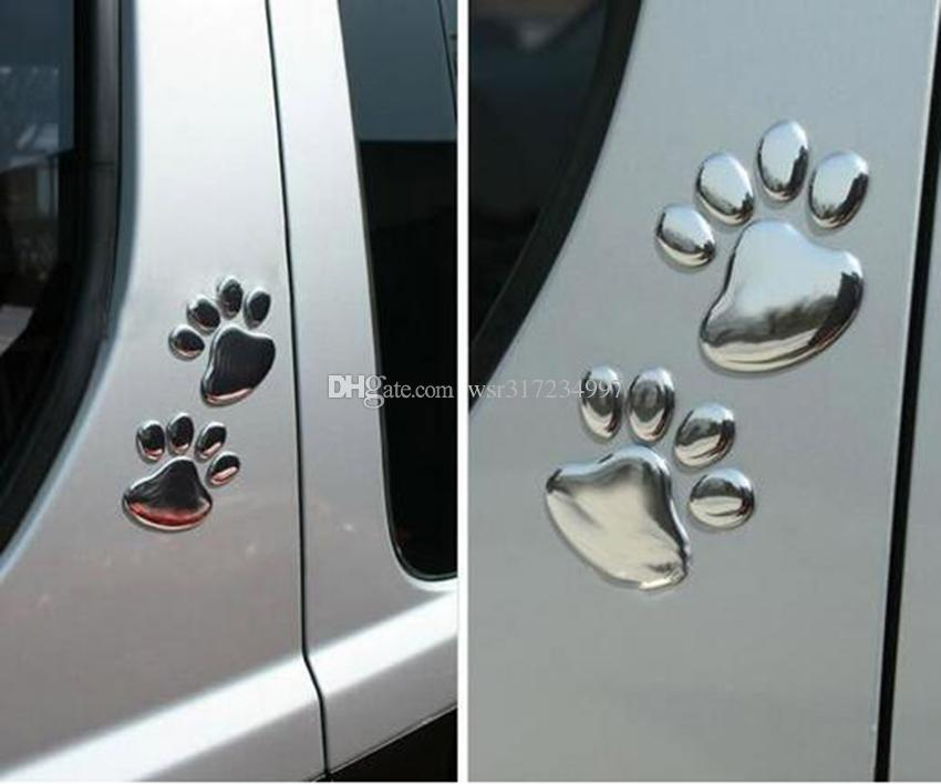 Hot sales funny cute 3D Bear Animal Paw Foot Print Car decorative stickers decals Emblem Golden & Silver