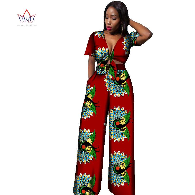 2017 African Print Cotton Suit Woman Plus Size Short Top And Pants ...