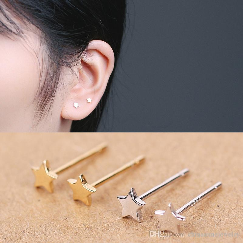 Two Colour Gold And White Gold Earring Star Sterling Simple Earring ...