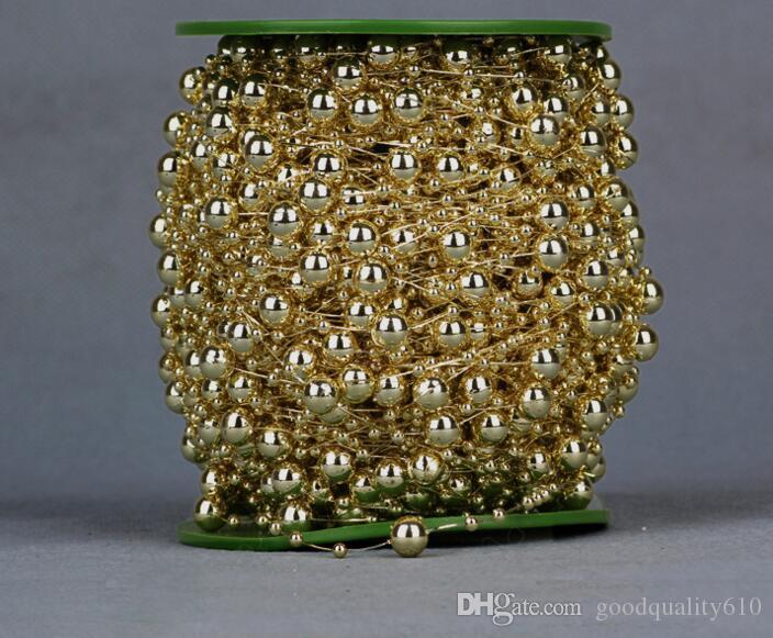 60 Mètre 1 Piscine 8mm3mm Argent / Or Plaqué Perle Chaîne Guirlande De Mariage Partie De Noël Décoration Artisanat DIY