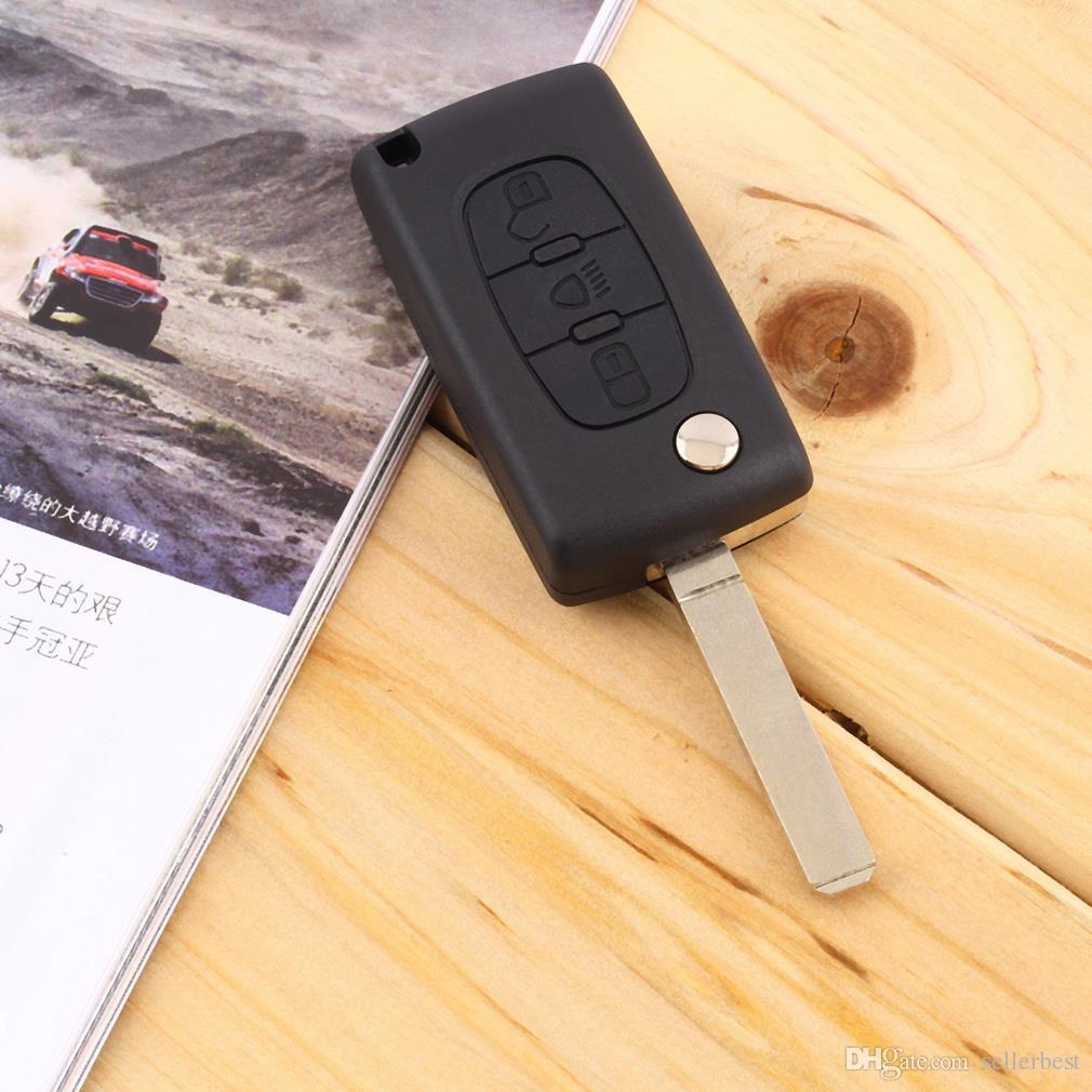 3 boutons pliant à distance cas de clé de voiture Shell avec interrupteur LED pour Citroen C4 C5 C6 C8 pour Xsara Picasso pour CE0523