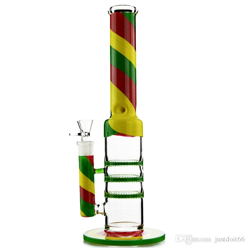 Colorful dab rigs with 3 Layers Honeycomb Perc bong Heady glass smoking water pipes with 18.8mm Joint WP524