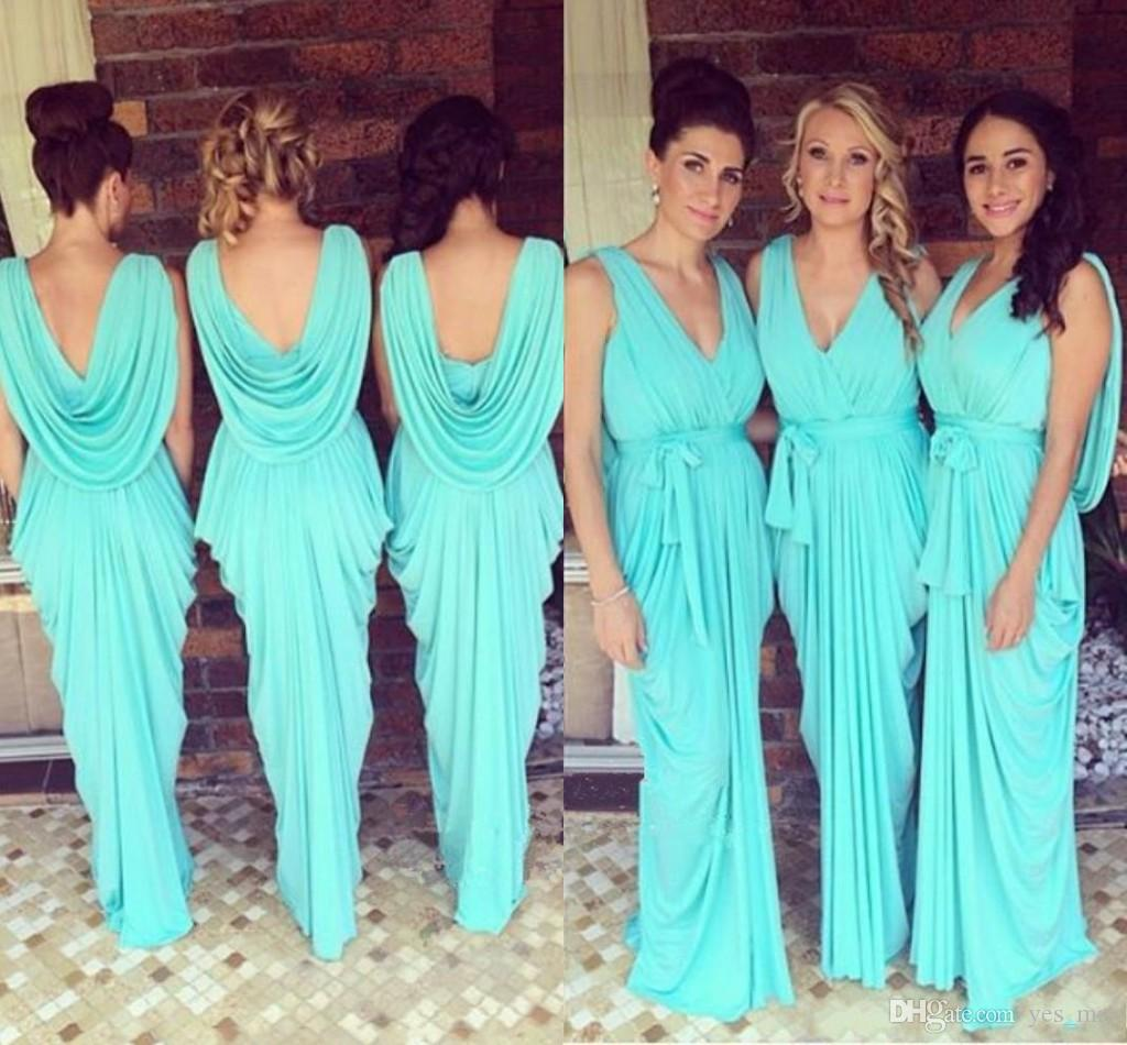 2018 Cheap Bridesmaid Dresses V Neck Wedding Guest Wear Teal ...