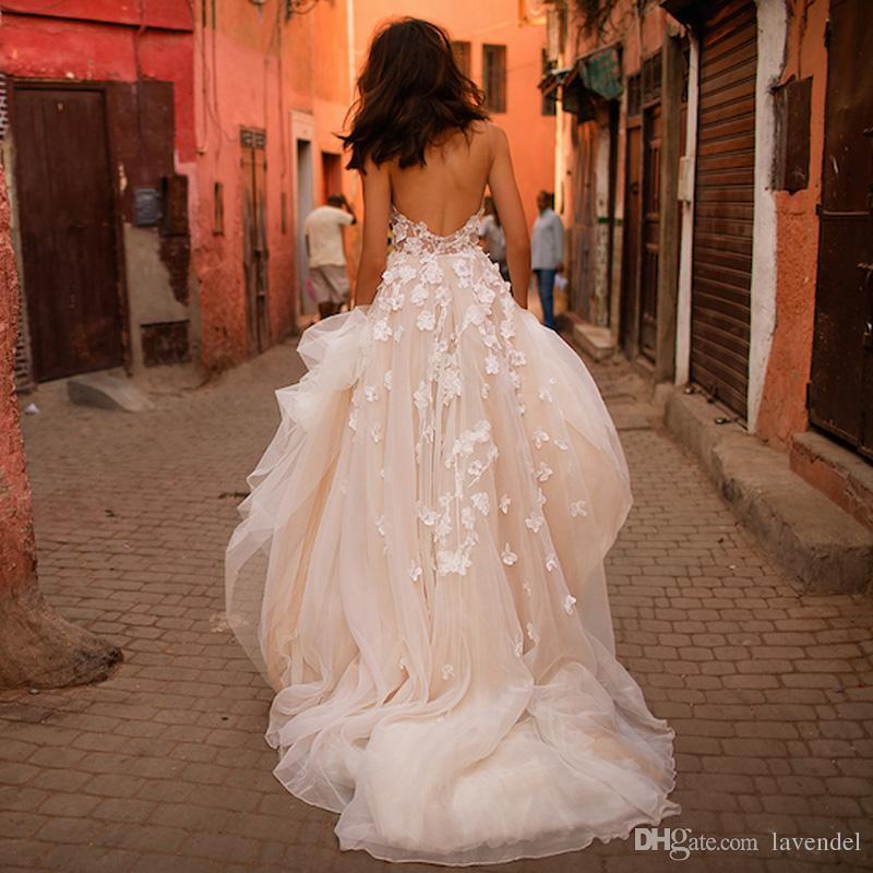 Elegant Wedding Dresses 2017 with 3D Floral Sweetheart Backless Plus Size Garden Country Toddler Bridal Gowns Vestido De Novia