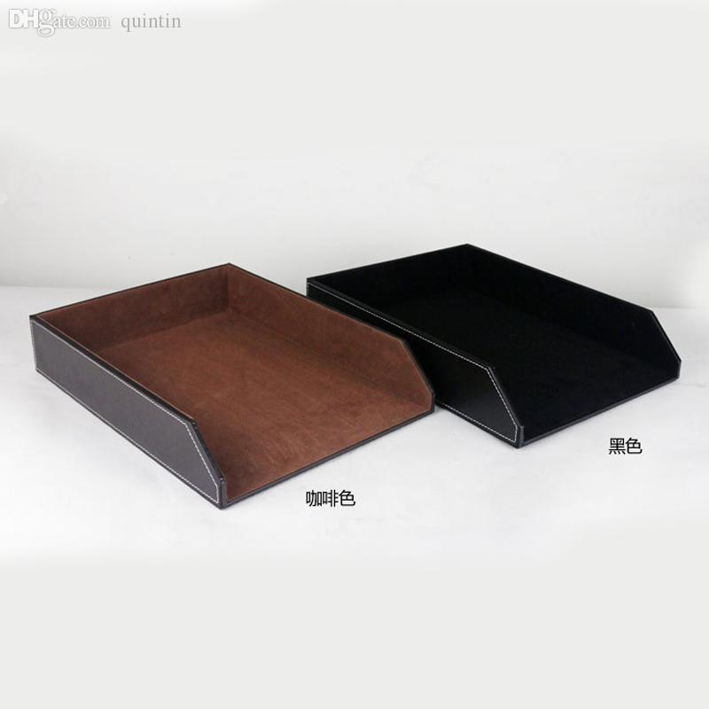 2018 Whole Coffee And Black Leather Wooden Office Files Doents Container Tray Desk Doent A4 Print Papers Organizer From Quintin 140 72 Dhgate