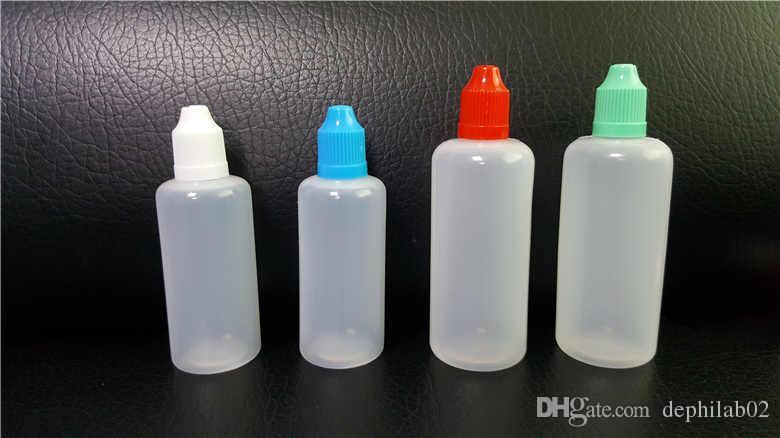 60ml의 100 ㎖ Vape 주스 빈 병 플라스틱 바늘 스포이드 PE 반투명 LDPE 어린이 증명 화려한 블랙 애완 동물 E 액체 석유 DHL의 경우 캡