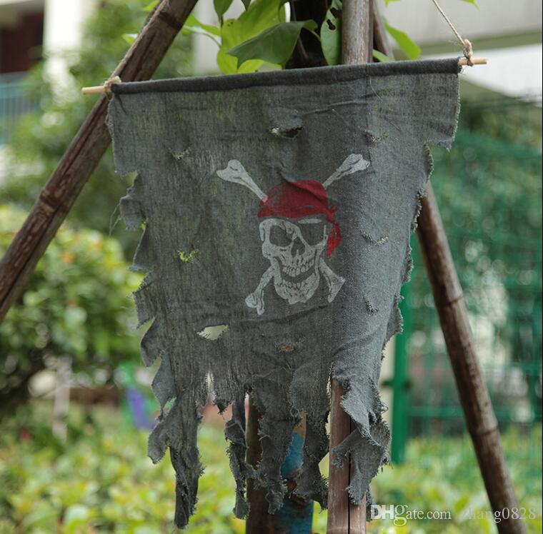 Halloween props house decoration fold flower ring flag Korea touch hanging flag ornaments pirate flag curtain spoof toy