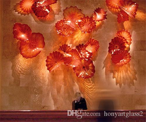 China Factory-outlet Red Blown Glass Art Wall Home Decorativo CE Certificado UL Murano Glass Art Wall Placas