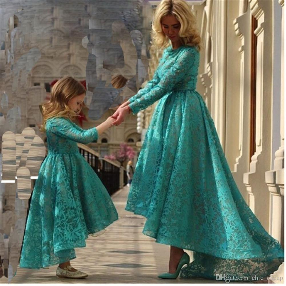 Long Sleeveless Hi-Lo Jewel Lace Mother & Daughter Dresses A Set Outfits 2018 Custom Made Evening Dresses
