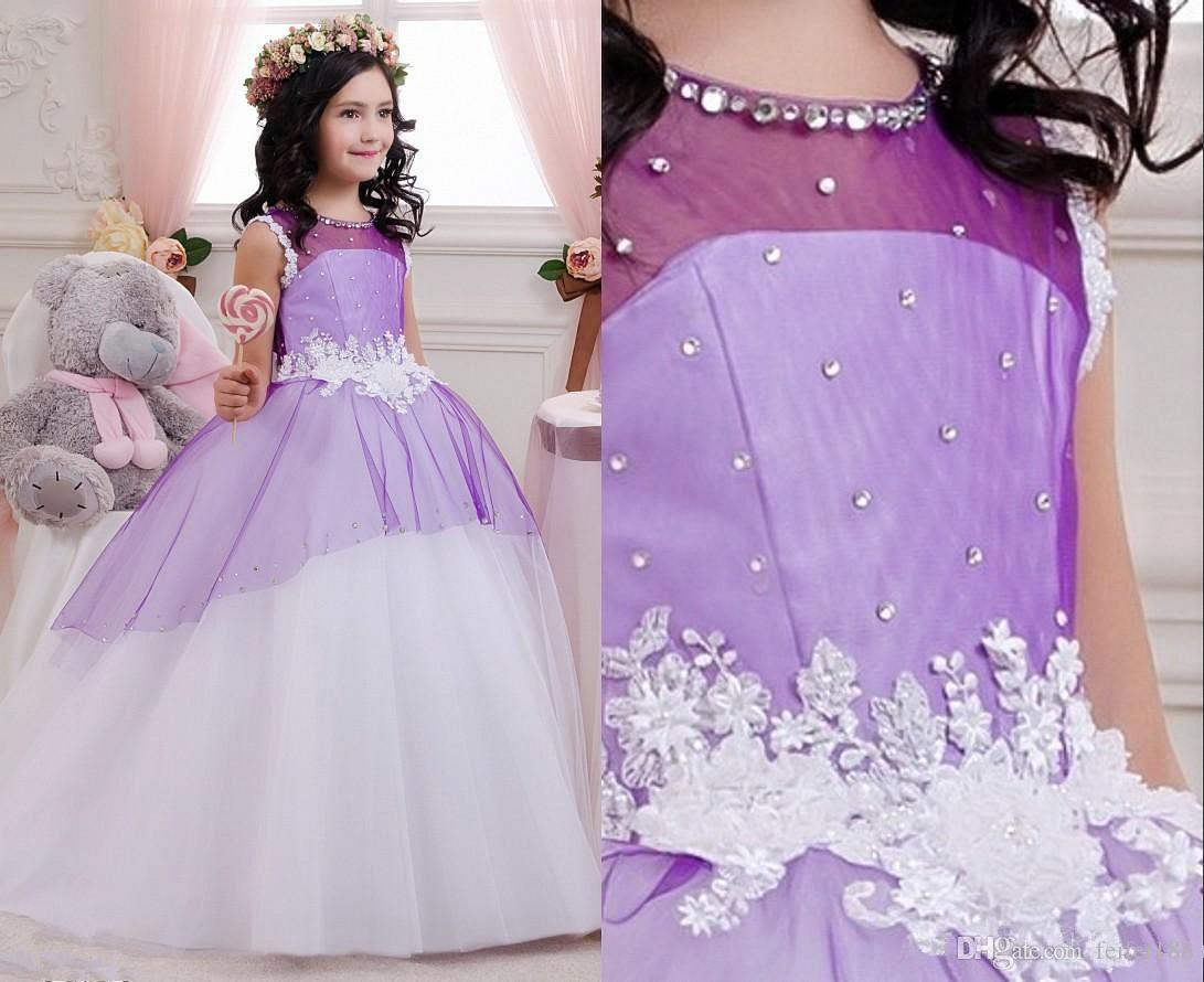 Lace Appliques Flower Girl Dresses Fairy Princess Baby Infant Junior ...