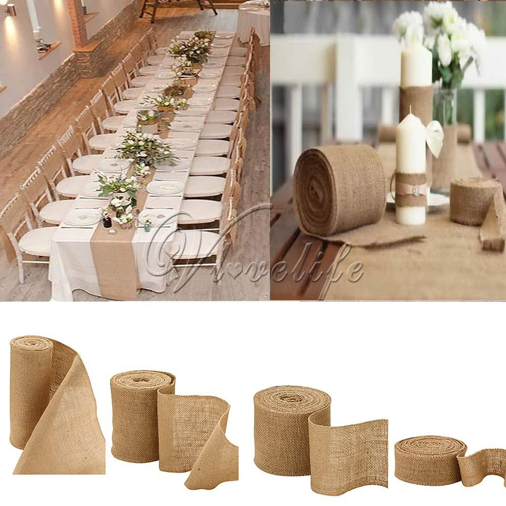 10 meters Hessian Burlap Ribbon Roll Vintage Rustic Natural Wedding Table Runner chair decor burlap table runner for home banquet
