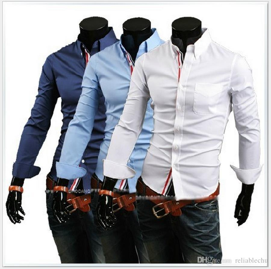 Single Breasted Dress Shirt Of Men Patch Colorful Striped Braid Long Sleeve Turn Down Sleeve Design Mens Business Shirt