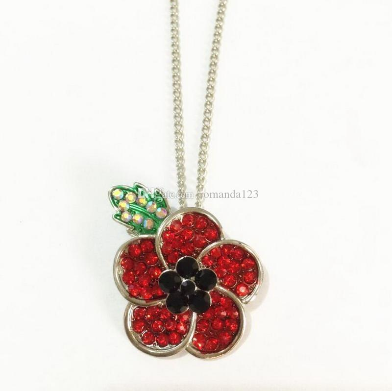 Red Crystal Poppy Pendant Necklace Flower Royal British Legion Remembrance Day Gift Necklace DHL