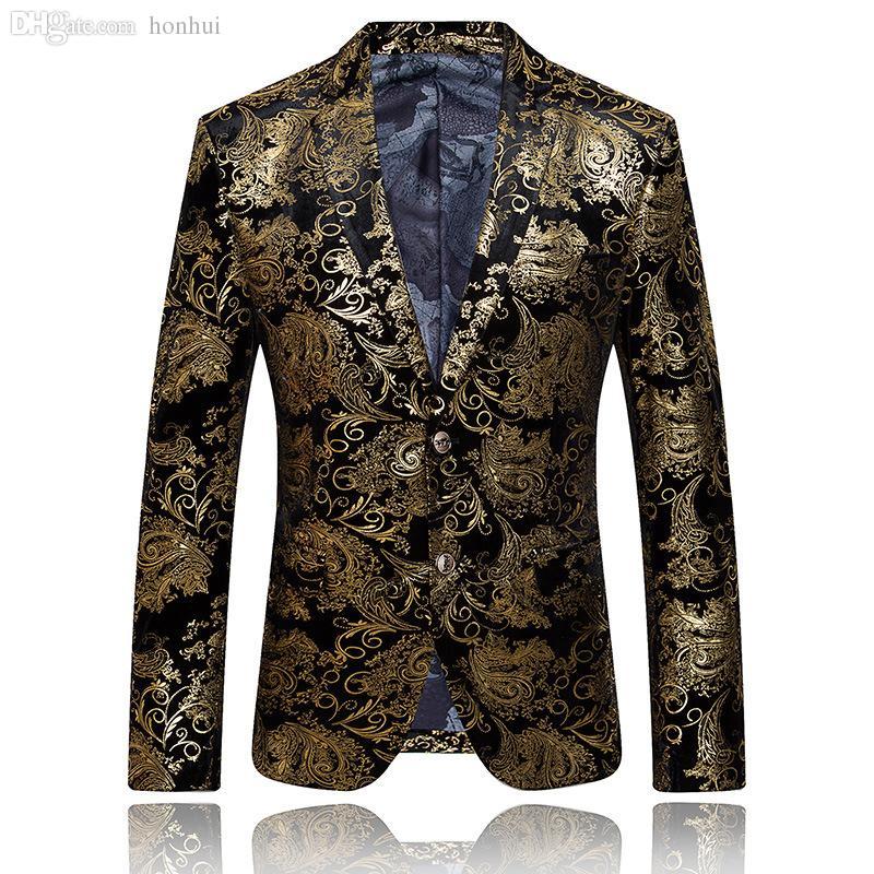 ... Por Mayor Chaqueta De Oro Para Hombres Chaqueta De Lujo Chaqueta Floral  Chaqueta Formal Para Hombre Chaqueta Bordada Traje De La Vendimia Prom  Blazers ... 68a06e144cb