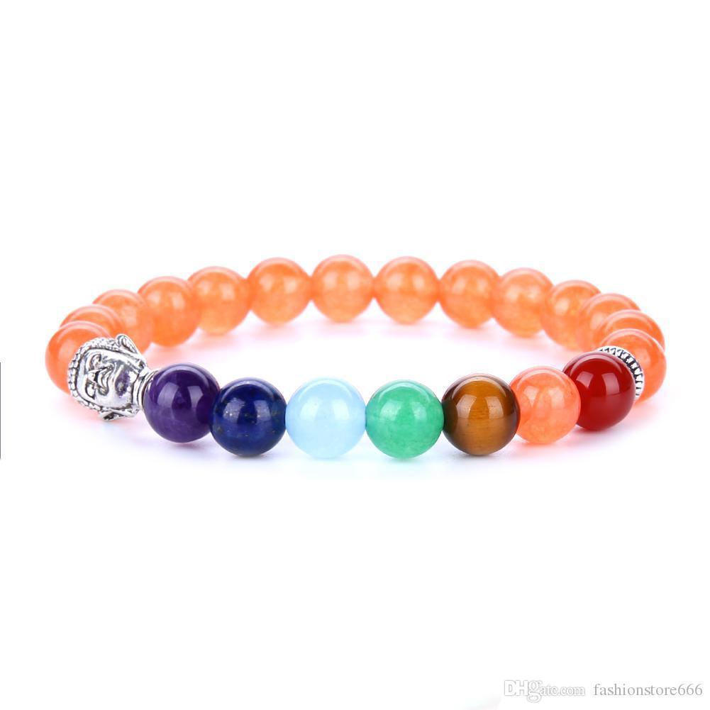 7 Chakra Silver Plated Buddha Mixed Color Beaded Bracelets Fashion stone Charm Jewelry Yoga Energy Bracelet Bangles Unisex Lava Bracelet