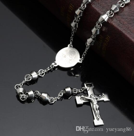 Charming Unisex Jewelry Brand New 316L Stainless Steel Crucifix Rosary CROSS Necklace Chain Necklace Silver Tone 6mm 28'''