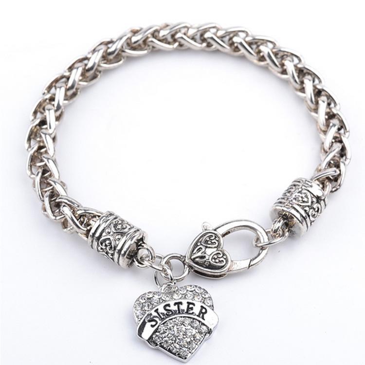Charme Boho Armbänder für Frauen Homme Kristall Liebe Herz Armband Armreif Mutter Schwester Tochter Tante Krankenschwester Wort Bracciali Donna Schmuck