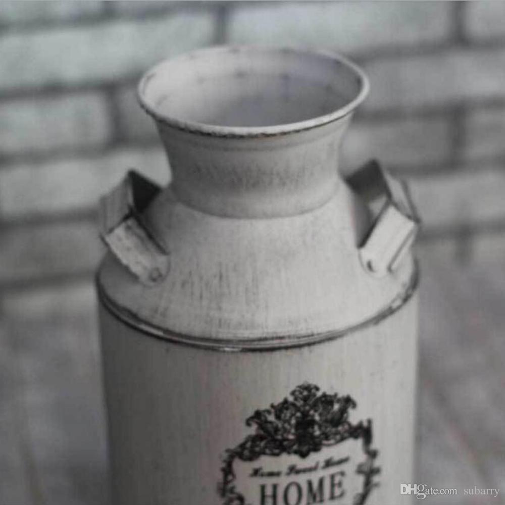 Élégant Pays Blanc Rustique Primitive Cruche Vase Lait Peut Vase À Fleur Pour La Fête De Mariage Maison Café Décoration